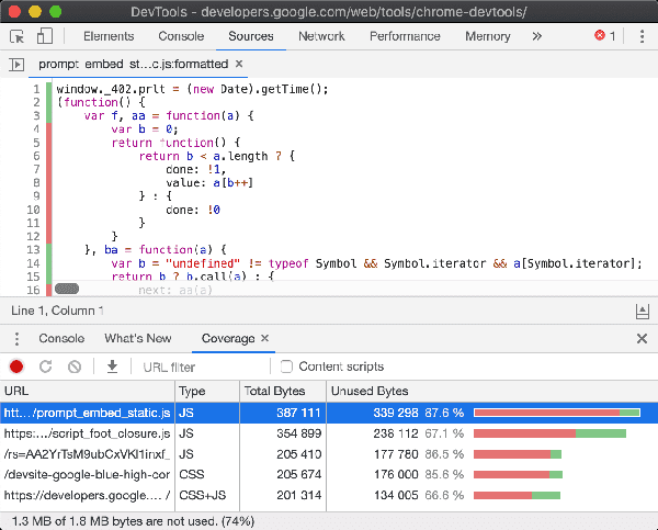 Chrome DevTools: Coverage tab
